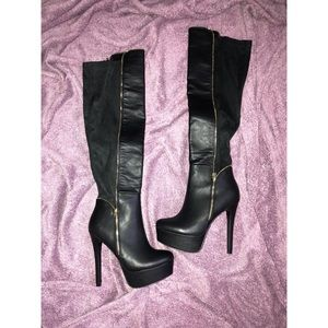 Shoes - Black Leather/Suede Knee High Boots